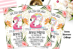 Tropical Unicorn Pool Party Birthday Printable Invitation - Seven Dwarves Cottage