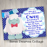 Yeti Abominable Snowman Birthday Invitation Printable - Yeti to Celebrate Birthday Party - Seven Dwarves Cottage