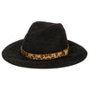 Women's Faux Suede Ribbon Fedora W/Leopard Band (CTH1800)