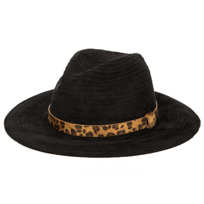 Women's Faux Suede Ribbon Fedora W/Leopard Band (CTH1800)-FEDORA-San Diego Hat Company