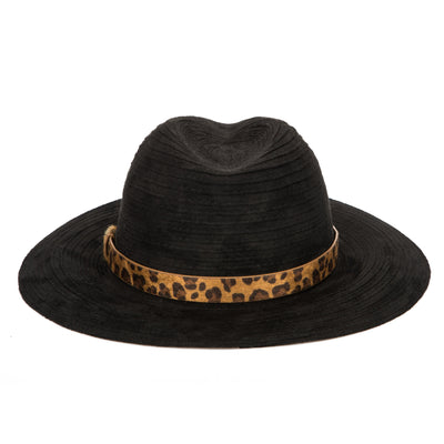 Women's Faux Suede Ribbon Fedora with Leopard Band (CTH1800)