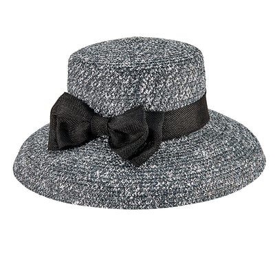 Women's Paper Braid Dress Hat w/ Double Bow Band in Black/White