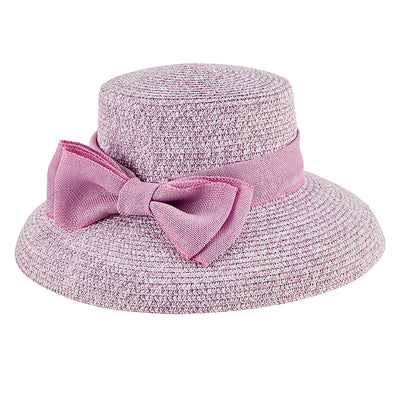 Women's Paper Braid Dress Hat w/ Double Bow Band in Lavender