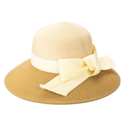 Women's Polybraid Color-block Dressy Hat with Oversized Bow (DRS3560)-DRESS-San Diego Hat Company