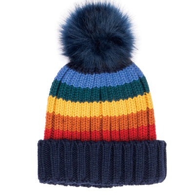 Women's Knit Rainbow Stripe Beanie w/Pom (KNH2039)