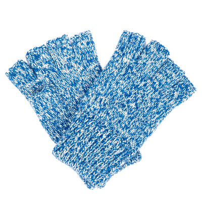 Women's Blue Marled Knit Fingerless Glove (KNG2038)