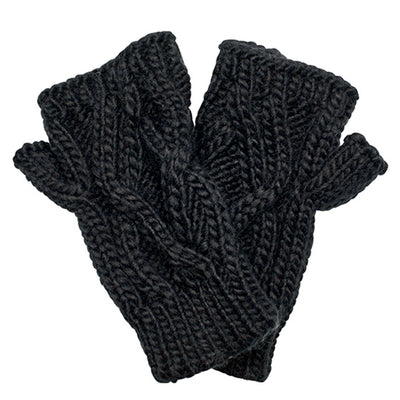 Solid Cable Knit Gloves (KNG3495)