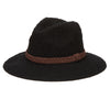 Women's Knit Fedora With Braided Faux Suede Trim (KNH8008) in Black
