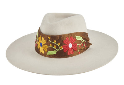 Women's pinch crown stiff brim fedora with embroidery band (MEX8219)