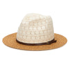 Women's Paperbraid Fedora with Cotton Lace Crown & Faux Leather Belt Band