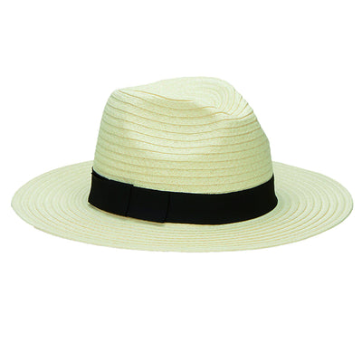 Hats - Women's Paper Braided Fedora With A Bow Band (PBF7300) in Ivory