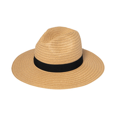 Hats - Women's Paper Braided Fedora With A Bow Band (PBF7300) in Tobacco