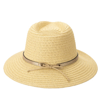 Women's Paperbraid Fedora With Debossed Metallic Snake Band (PBF7367)-FEDORA-San Diego Hat Company