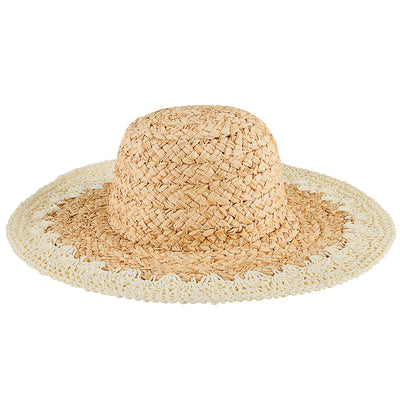 Women's Paper Straw Hat with crochet brim in Ivory