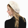 Women's wool beret with faux pearls (KNH5028)