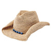 Women's Crocheted Raffia Cowboy With Stone Trim in Cobalt