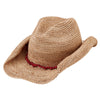 Women's Crocheted Raffia Cowboy With Stone Trim in Coral