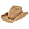 Women's Crocheted Raffia Cowboy With Stone Trim in Green