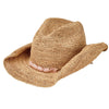Women's Crocheted Raffia Cowboy With Stone Trim in Pink