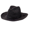 Hats - Womens Pinched Crown Fedora Crochet Raffia in Black