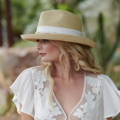 Women's Kettle Brim Fedora With Frayed Band & Shell Trim (UBF1126)-FEDORA-San Diego Hat Company
