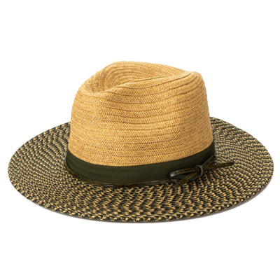 Women's Colorblock Fedora With Band & Faux Leather Bow Band (UBF1127)-FEDORA-San Diego Hat Company