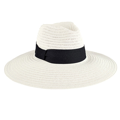 Hats - Women's Ultrabraided Fedora With Knotted Grosgrain in White