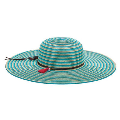 Women's ultrabraid striped floppy with double faux suede trim (UBL6812)-SUN BRIM-San Diego Hat Company