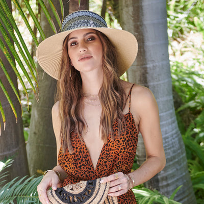 Women's Multi Stripe Crown Sun Hat (UBL6832)-SUN BRIM-San Diego Hat Company