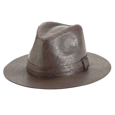 Faux leather fedora with self band (CTH1504)