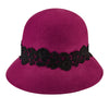 Women's Cloche With Lace (WFH8037OS) in Magenta