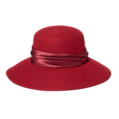 Women's Felt Wide Brim Cloche with Pleated Satin Band (WFH8103)