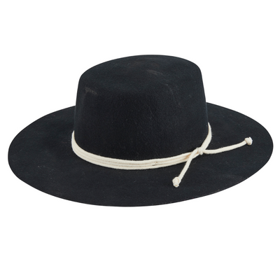Women's wool felt wide brim boater with triple wrapped rope trim