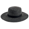 Women's wool felt wide brim boater with leather band (WFH8210)