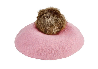 Kids Wool Beret W/ Faux Fur Pom (WFK1007)