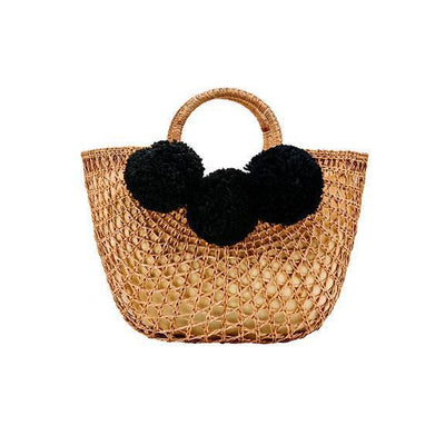 Bag - WOMENS OPEN WEAVE RATTAN BAG WITH POMS (BSB1748)
