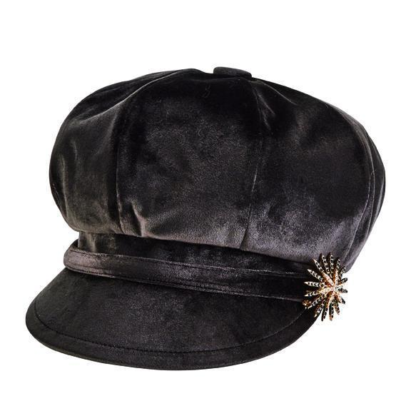 a31ac6edd3ad5 velvet baker boy cap with broach decoration - San Diego Hat Company