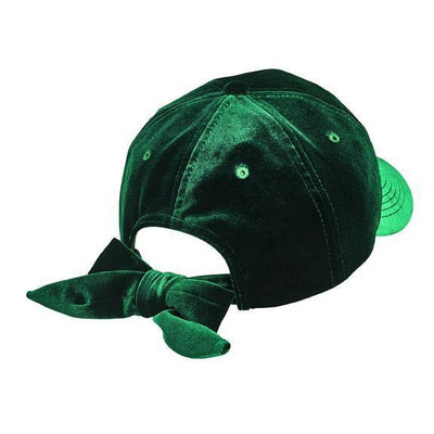 BALL CAP - Solid Velvet Ball Cap With Adjustable Bow Closure