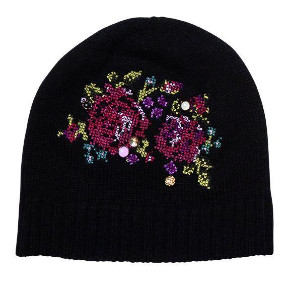 50632256 Beanie - Knit Beanie With Floral Embroidery And Buttons