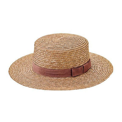 Boater - Women's Camel Wheat Straw Boater With Grosgrain Trim (WSH1211)
