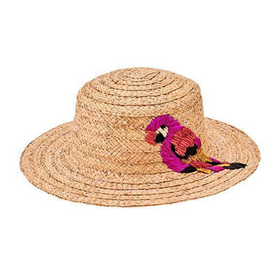 Boater - Women's Raffia Boater With Parrot Embroidery In Raffia (RHM6201)