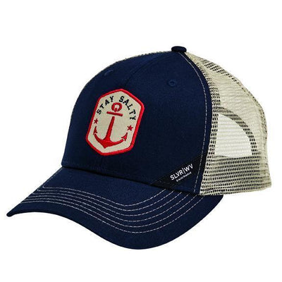 "CAP - COTTON TWILL CURVED BILL TRUCKER CAP W/ CONTRAST STITCHING AND ""STAY SALTY"" PATCH"