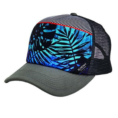 CAP - SUBLIMATED TROPICAL STRIPE PRINT SNAPBACK TRUCKER CAP