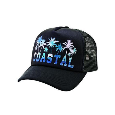 CAP - UNISEX COASTAL PALM TREE TRUCKER CAP (SLW3612)