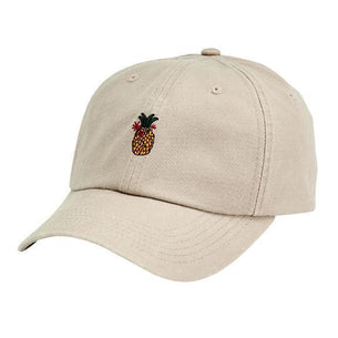 8ae8a3af16ab2 WASHED COTTON TWILL DAD CAP W  VELCRO BACK CLOSURE   PINEAPPLE FLAT  EMBROIDERY (SLW3587OSKHK