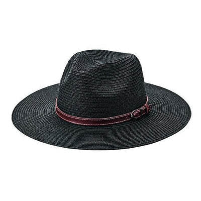 Women's black fedora with faux leather band and buckle (PBF7339)