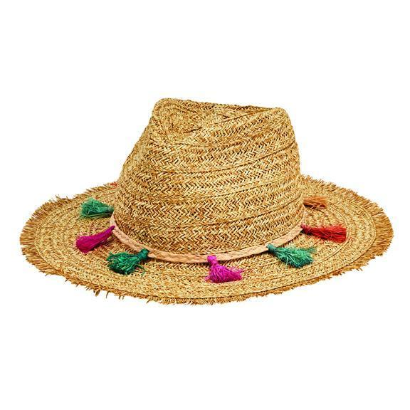 Women s ultrabraid fedora with frayed edge and multi color tassels (UBF1104) 985f5e98718e