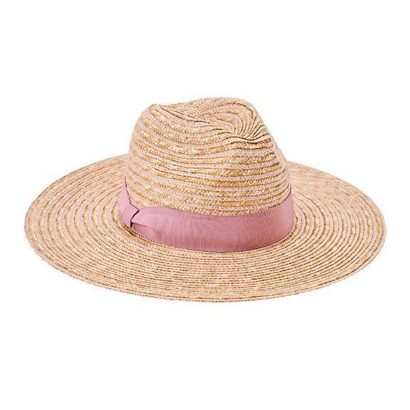 2610bc799e34b Fedora - Women s Wheat Straw Hat With Blush Grosgrain Ribbon Trim  (WSH1209OSBSH)