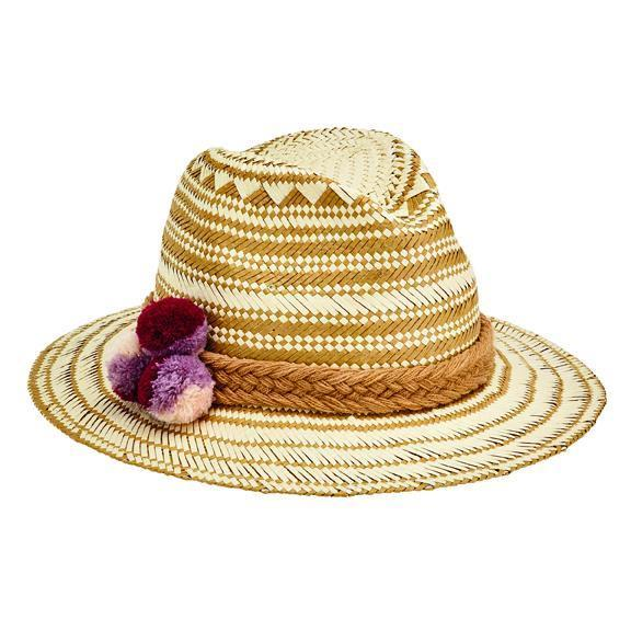 1ba13b4b006c0 Women s woven paper fedora with constrast color pattern