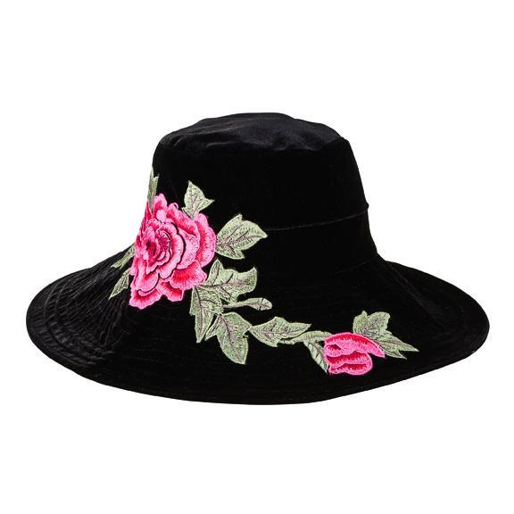 Women s velvet floppy hat with rose embroidery patch - San Diego Hat ... 2d463850aaa